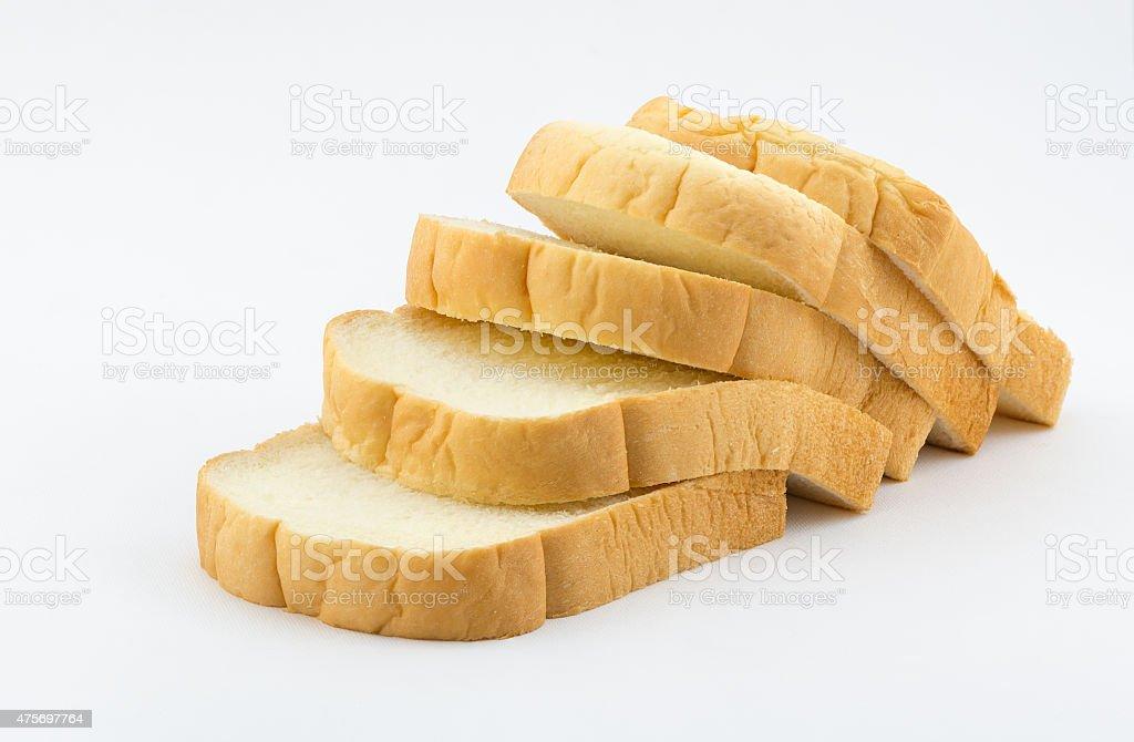 fresh sliced bread isolated on white background stock photo