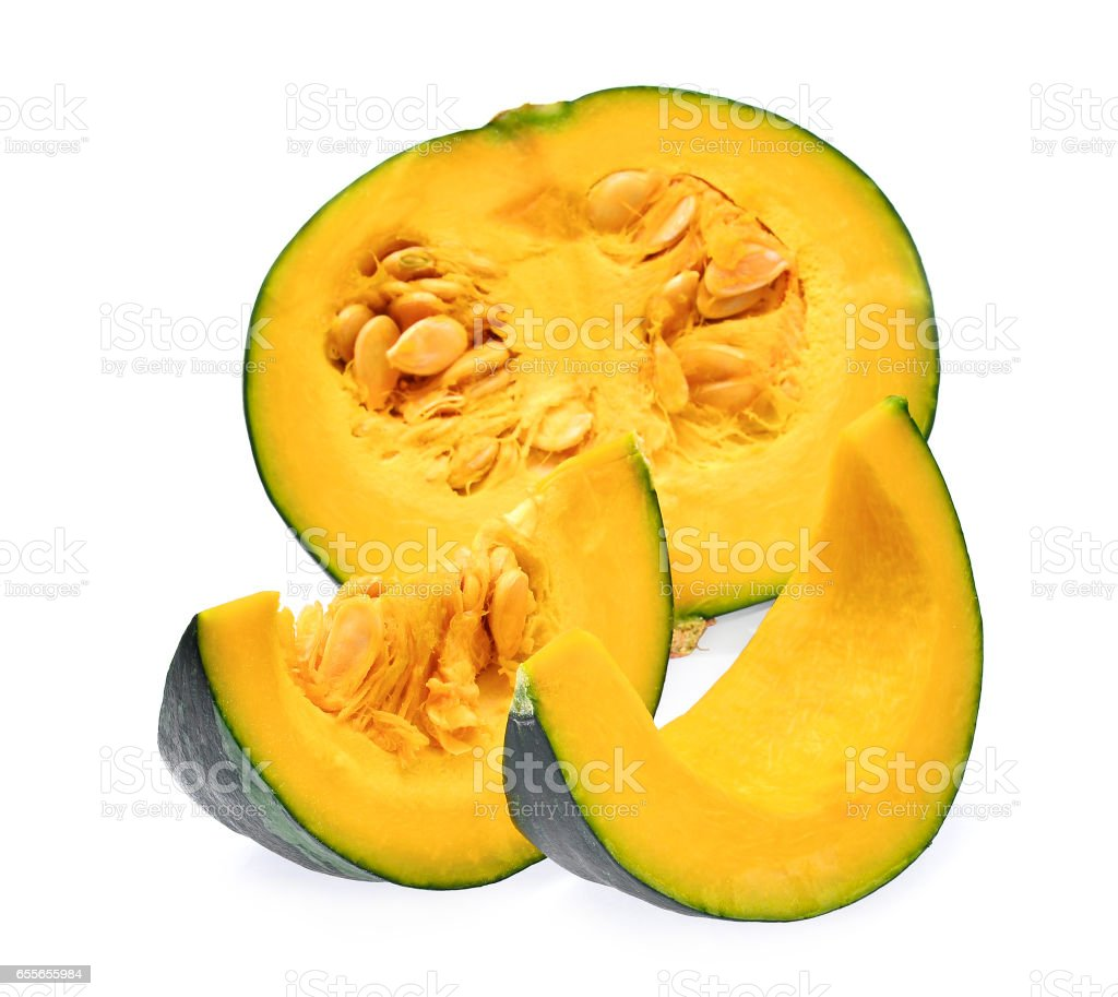 fresh sliced pumpkin isolated on white background stock photo