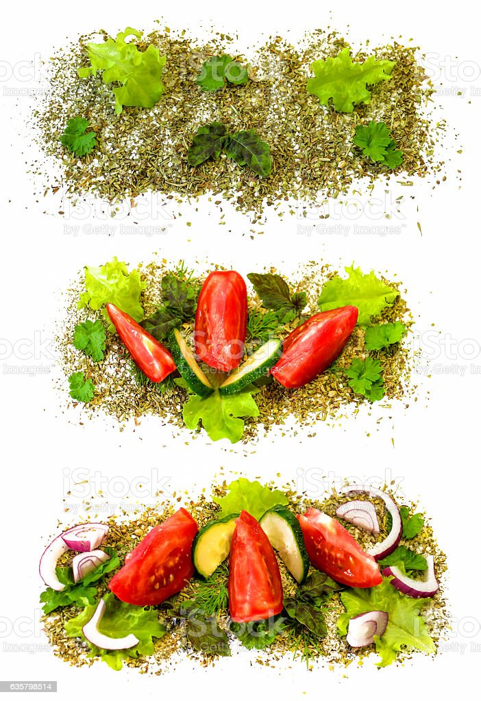fresh sliced vegetables posted in the sea salt and spices stock photo