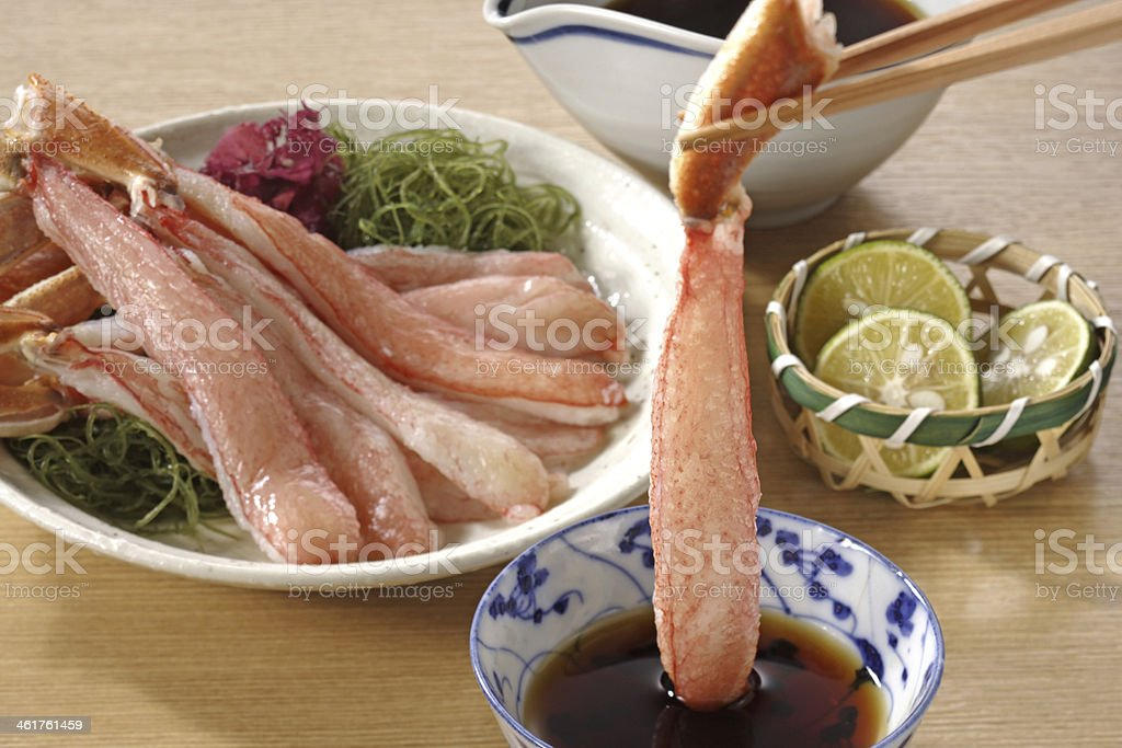 Fresh slices of a snow crab stock photo