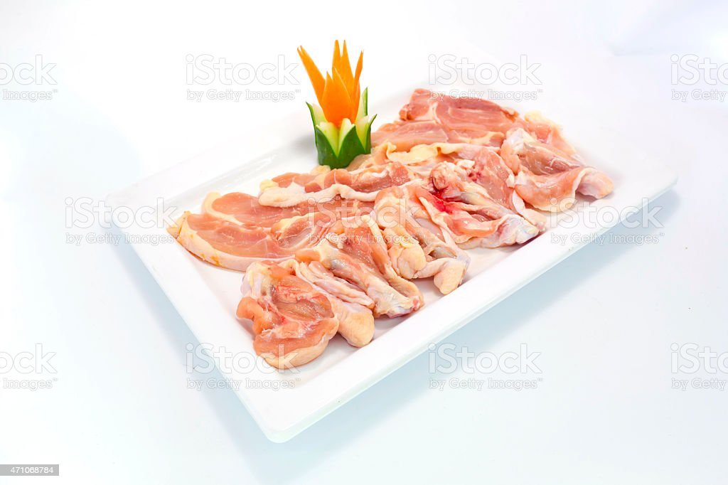 Fresh slices of chicken isoloate on white background stock photo