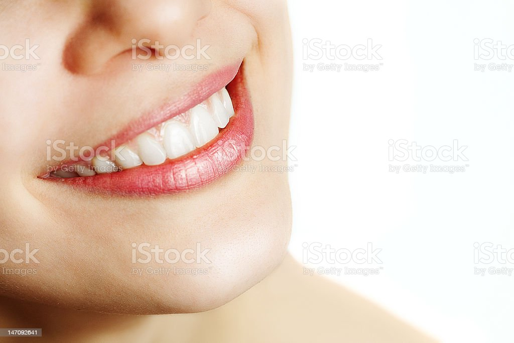 Fresh smile of woman with healthy teeth stock photo