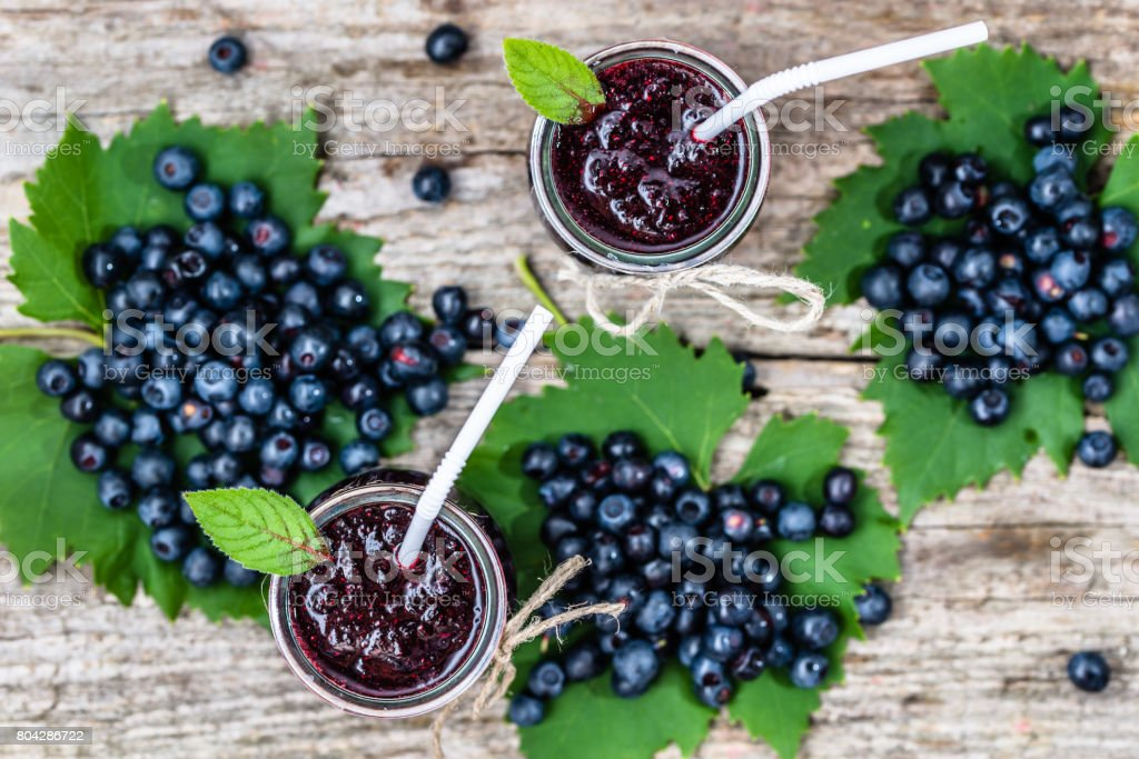 Fresh smoothie from blueberries, summer drink with vitamin blended from ripe fruits stock photo