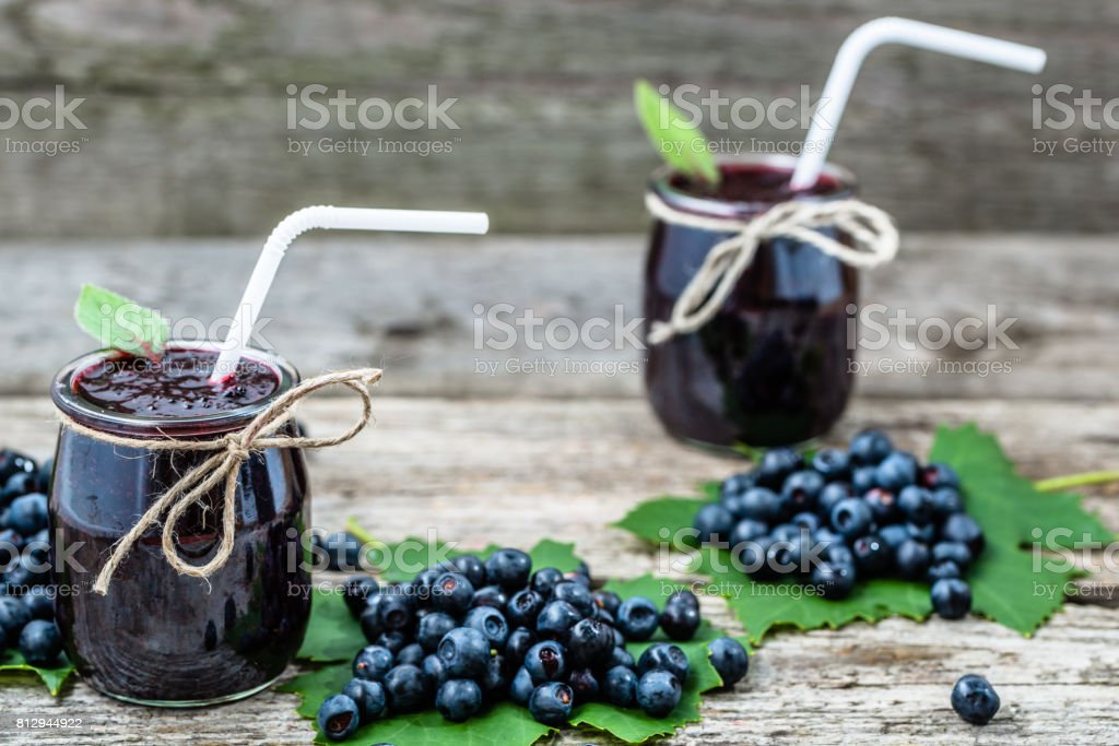 Fresh smoothie from blueberries, summer healthy antioxidant drink with vitamin blended with ripe fruits stock photo