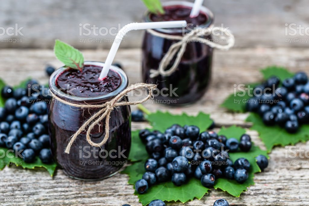 Fresh smoothie from blueberry fruits, summer drink with vitamin blended from ripe bilberry stock photo