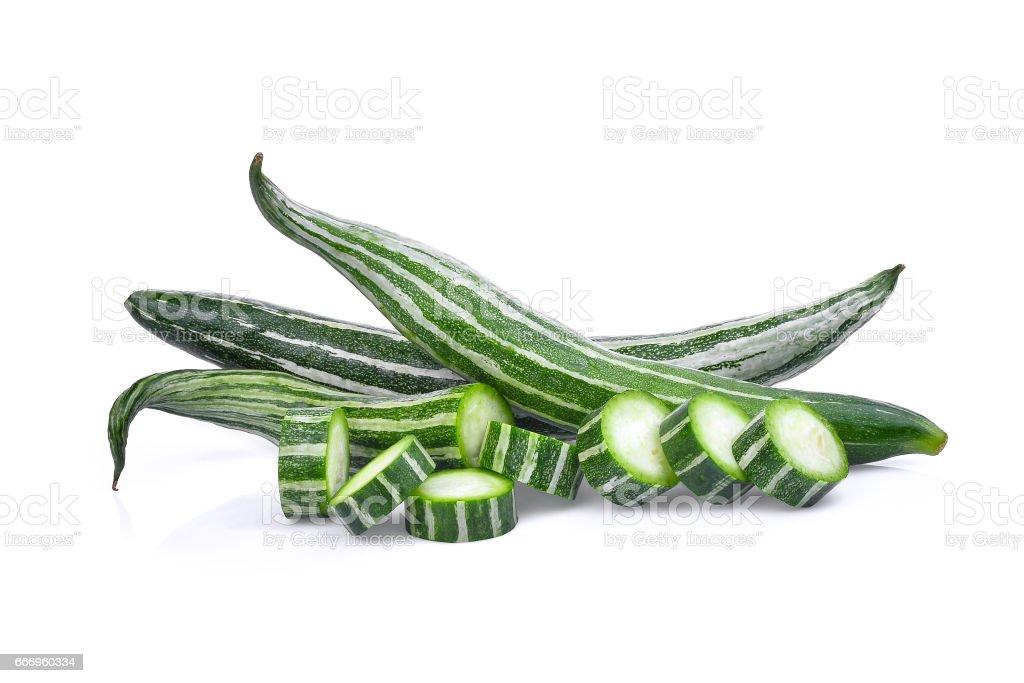 fresh snake gourd isolated on white background stock photo