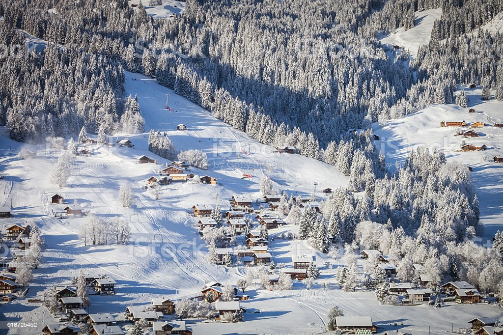 Fresh Snow and chalets, barns, Obersimmental, Switzerland stock photo