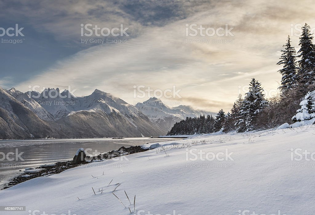 Fresh snow on Mud Bay stock photo