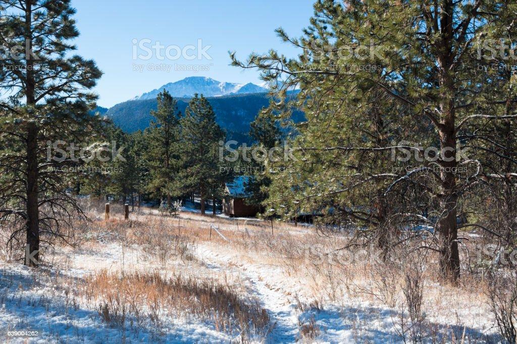 Fresh Snow on Pikes Peak Colorado stock photo