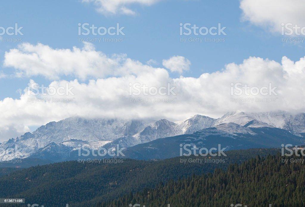 Fresh Snow on Pikes Peak stock photo