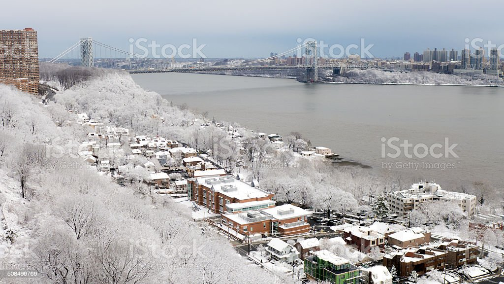 Fresh Snow Over Edgewater, NJ and NYC stock photo