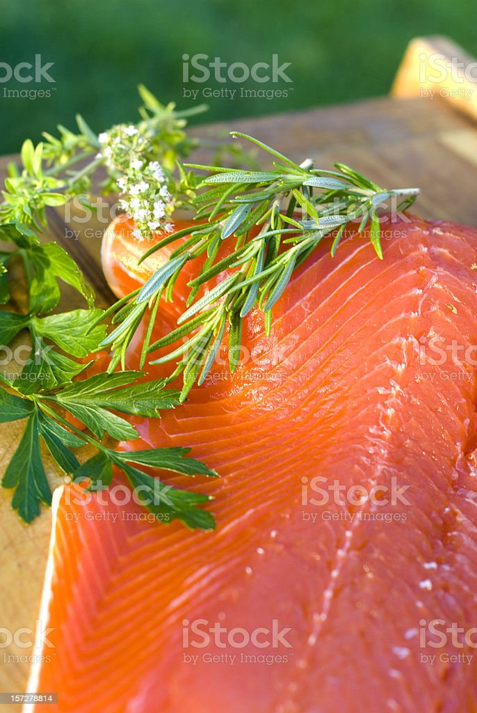 Fresh Sockeye Salmon Seafood Fish Fillet with Rosemary, Parsley & Thyme royalty-free stock photo