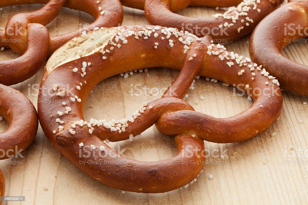 Fresh soft pretzels stock photo