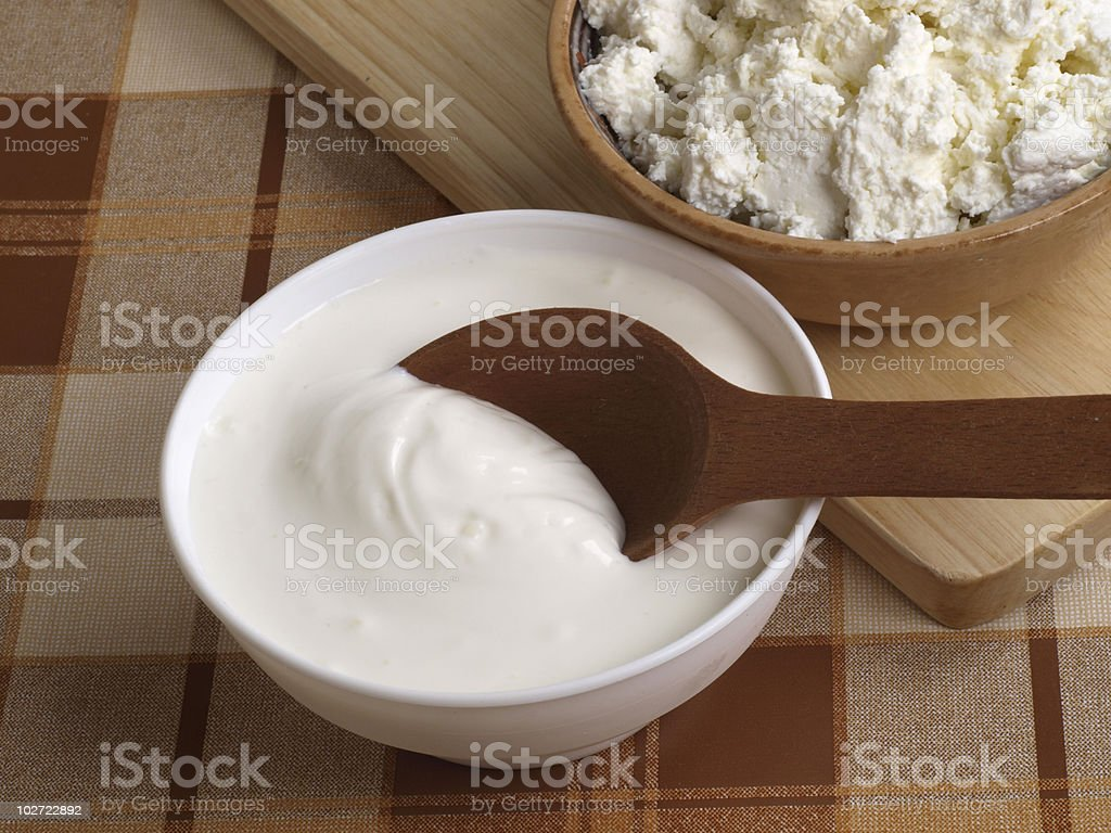 fresh sour cream and  quark stock photo