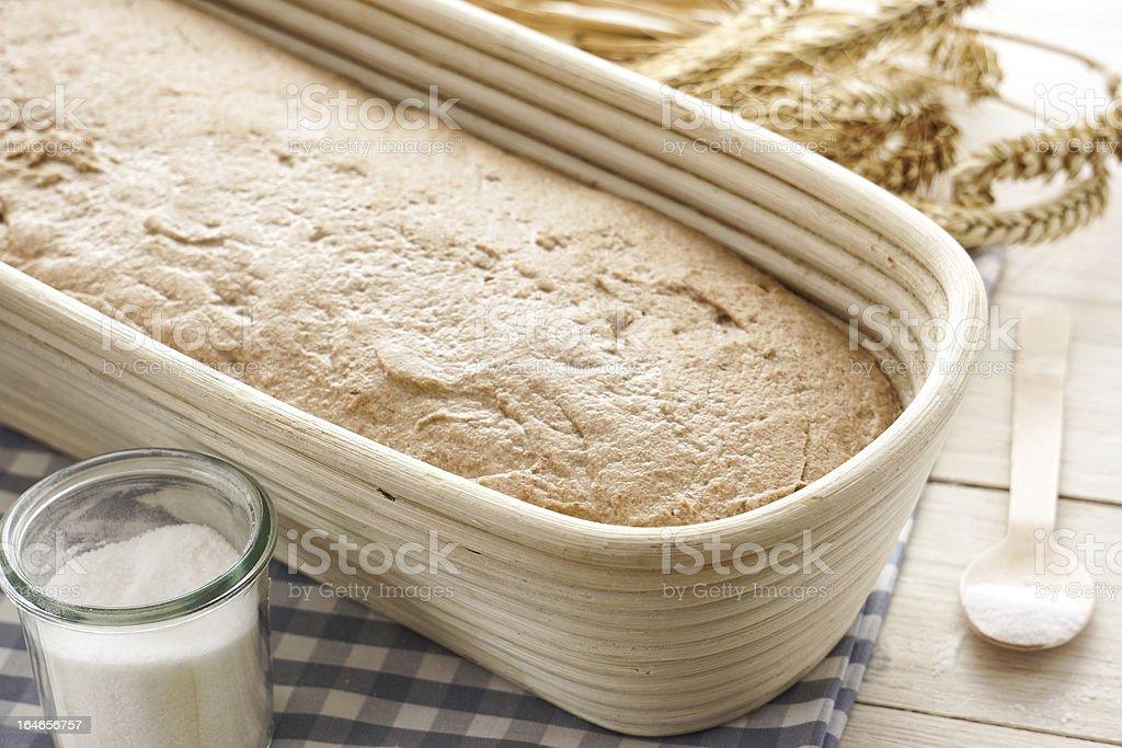 Fresh sourdough rye bread in a fermenting basket royalty-free stock photo