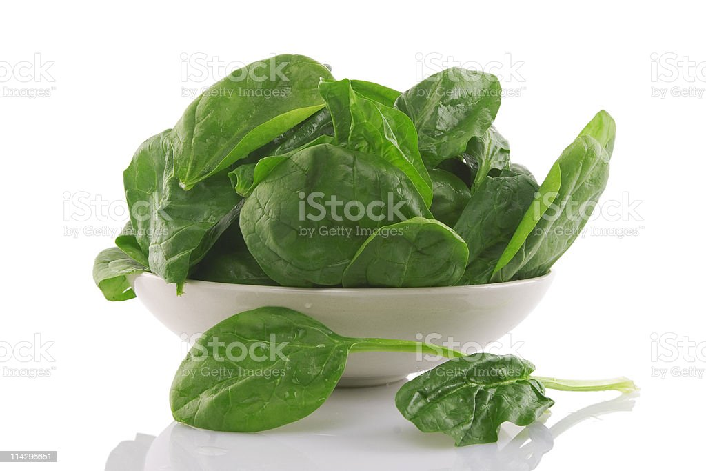 fresh spinach in a white bowl royalty-free stock photo