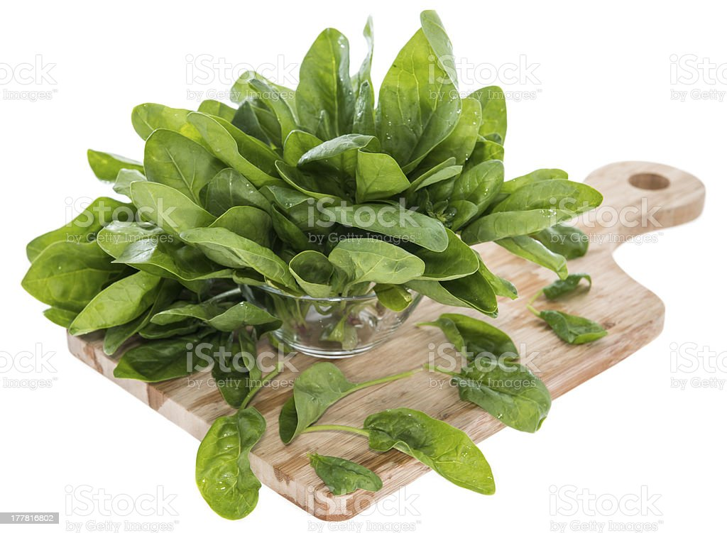 Fresh Spinach Leaves on white royalty-free stock photo