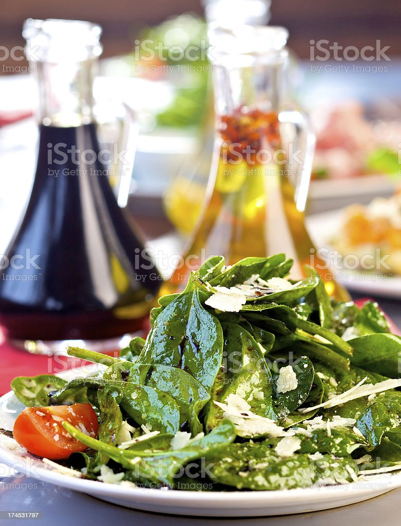 Fresh spinach salad royalty-free stock photo