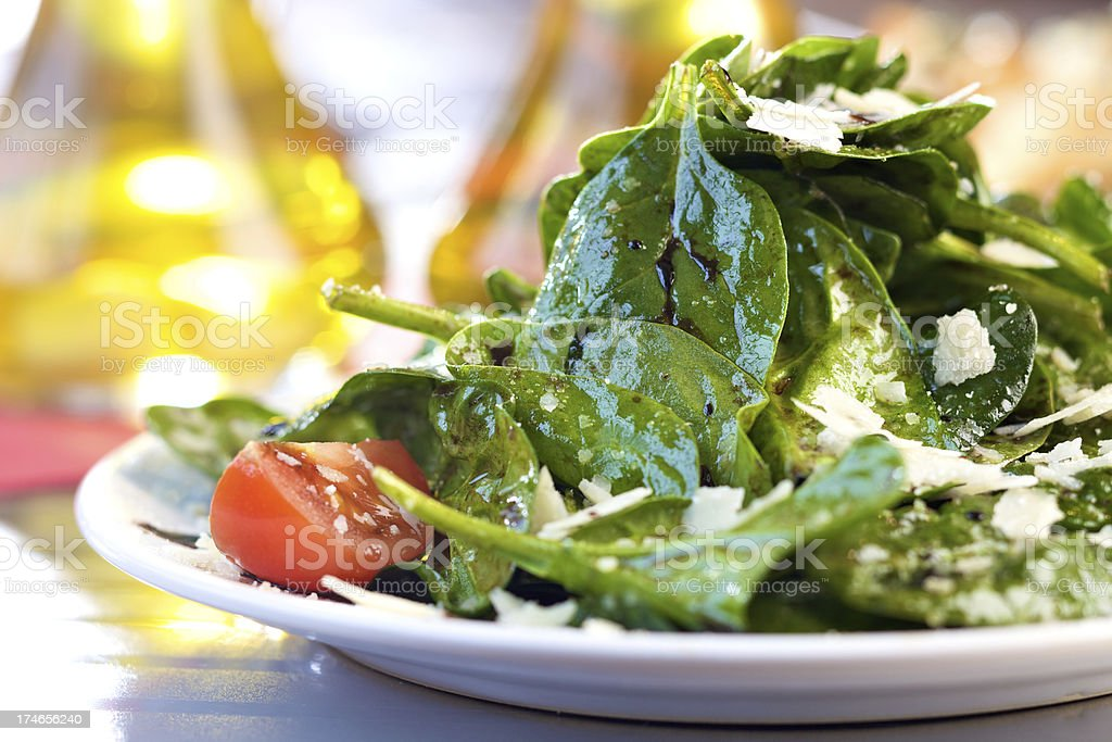 Fresh spinach salad stock photo