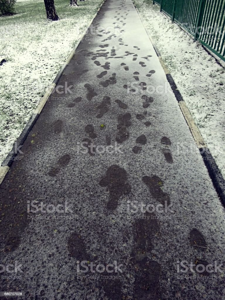 Fresh spoors in wet snow on pedestrian road in Moscow in spring stock photo