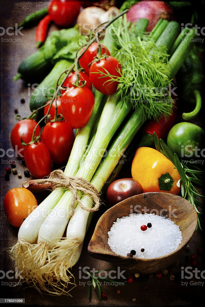 fresh spring onions and vegetables royalty-free stock photo