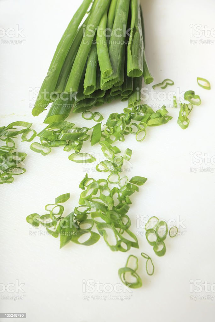 fresh spring onions or chives royalty-free stock photo