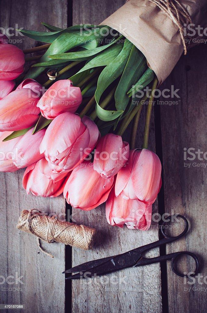 fresh spring pink tulips stock photo
