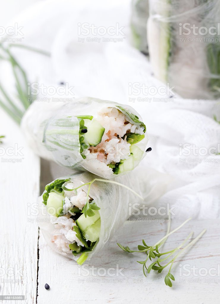 Fresh spring rolls on a white background stock photo