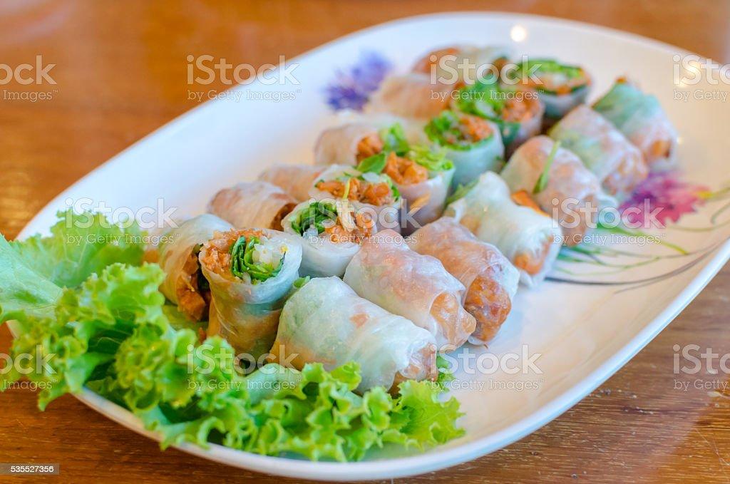 Fresh spring rolls (Vietnam food) stock photo