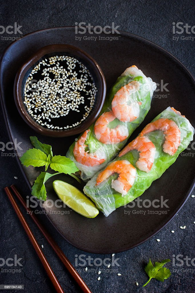 fresh spring rolls with shrimps and vegetables stock photo
