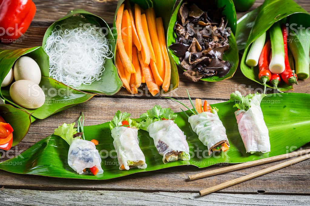 Fresh spring rolls with vegetables stock photo