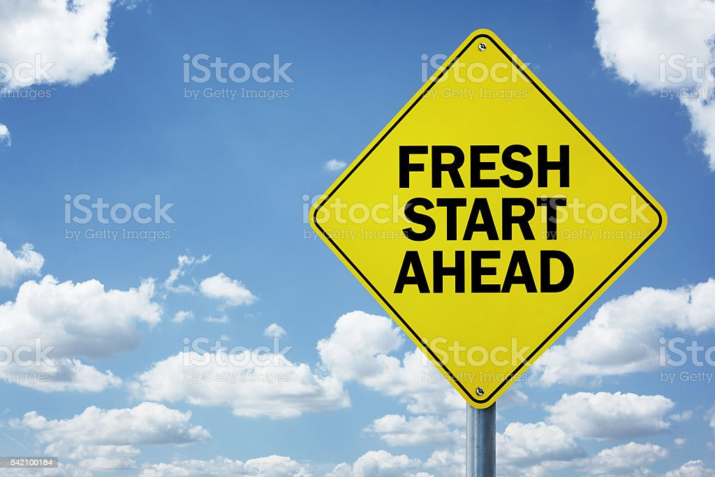 Fresh start ahead road sign stock photo
