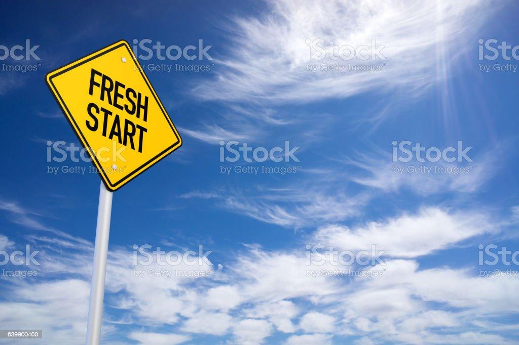 Fresh Start Yellow Road Sign stock photo