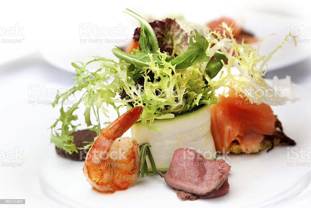 fresh starter with beef and fish royalty-free stock photo