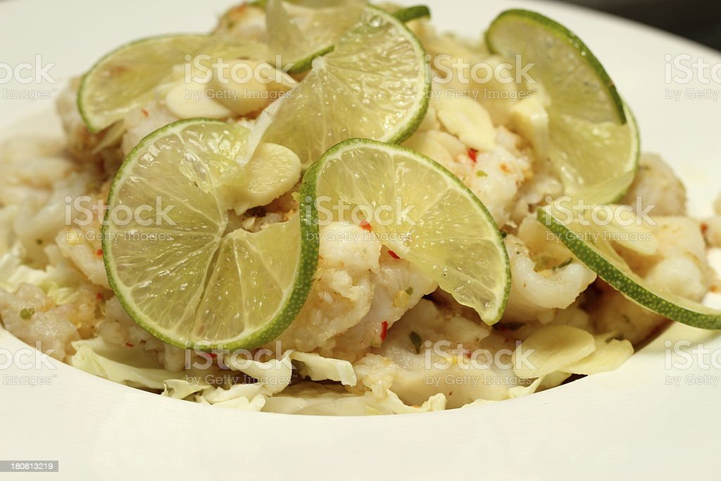 Fresh steam fish with seafood sauce royalty-free stock photo