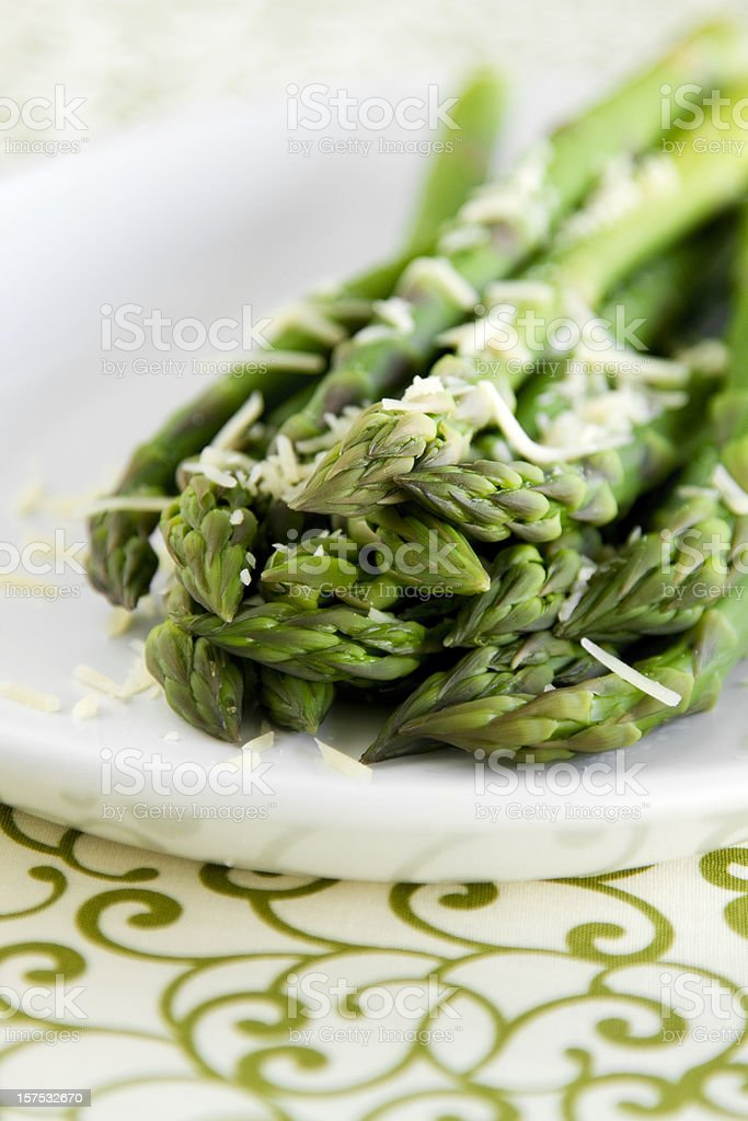 Fresh Steamed Asparagus with Parmesan Cheese royalty-free stock photo