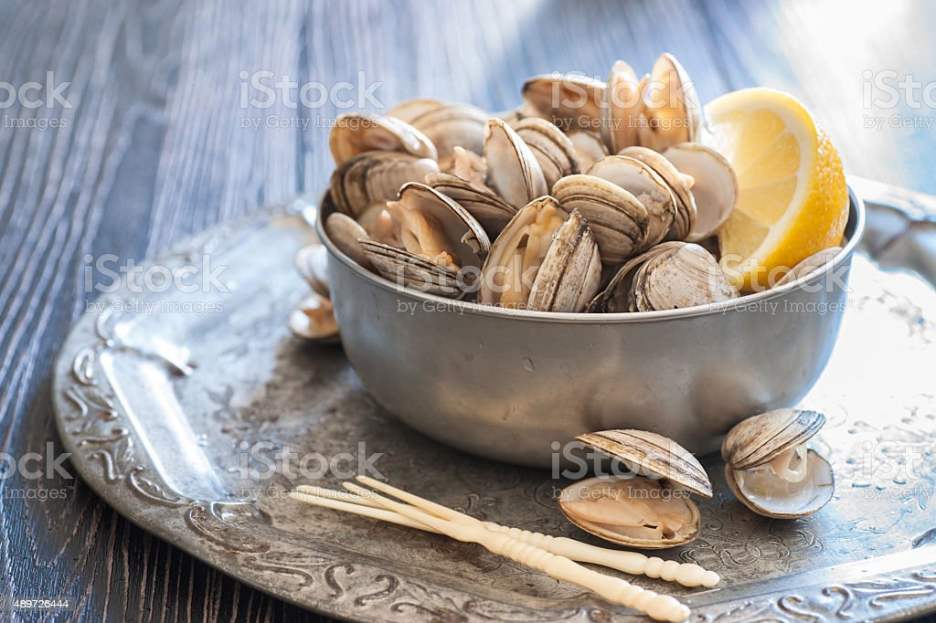 Fresh Steamed Clams stock photo