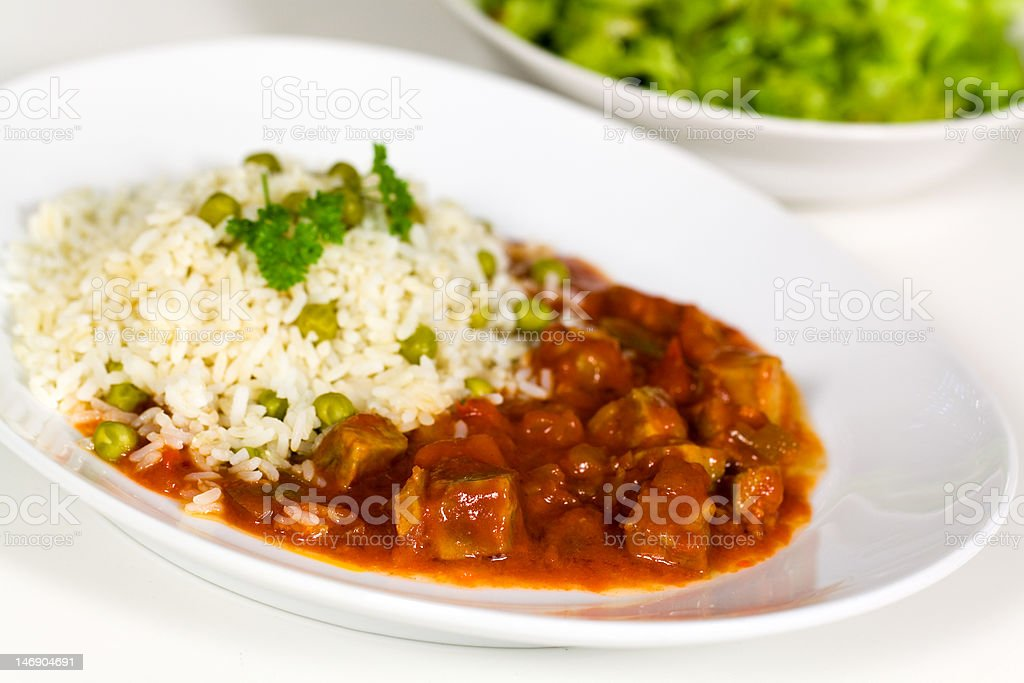 fresh stew of beef and pork with rice royalty-free stock photo