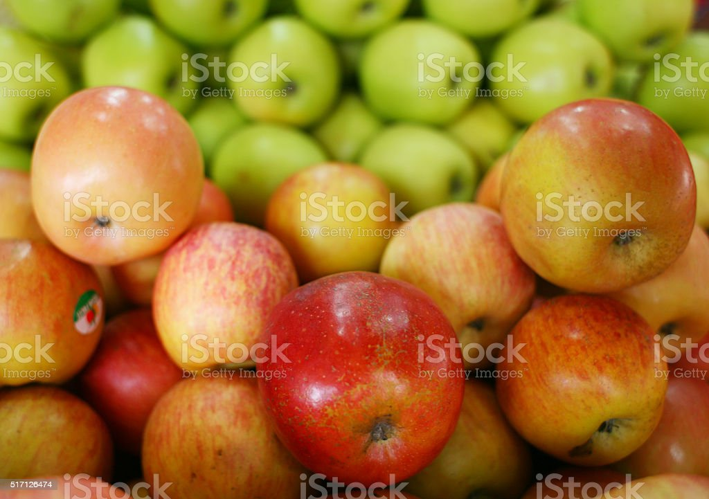 Fresh stock of red and green apple stock photo