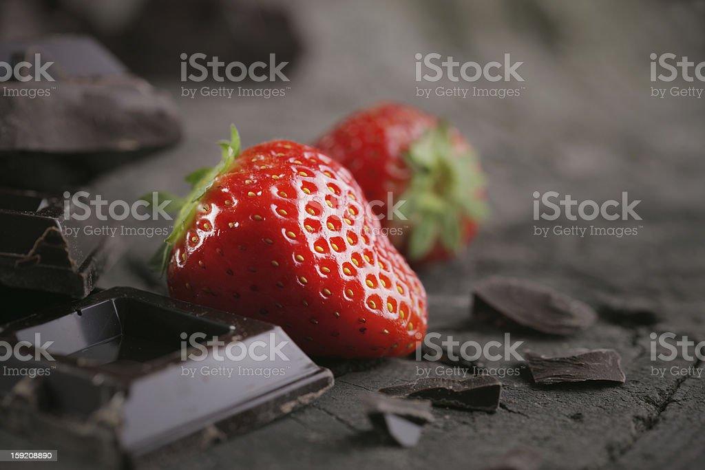 Fresh strawberries and chocolate stock photo