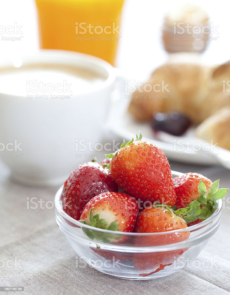 Fresh strawberries for a breakfast royalty-free stock photo