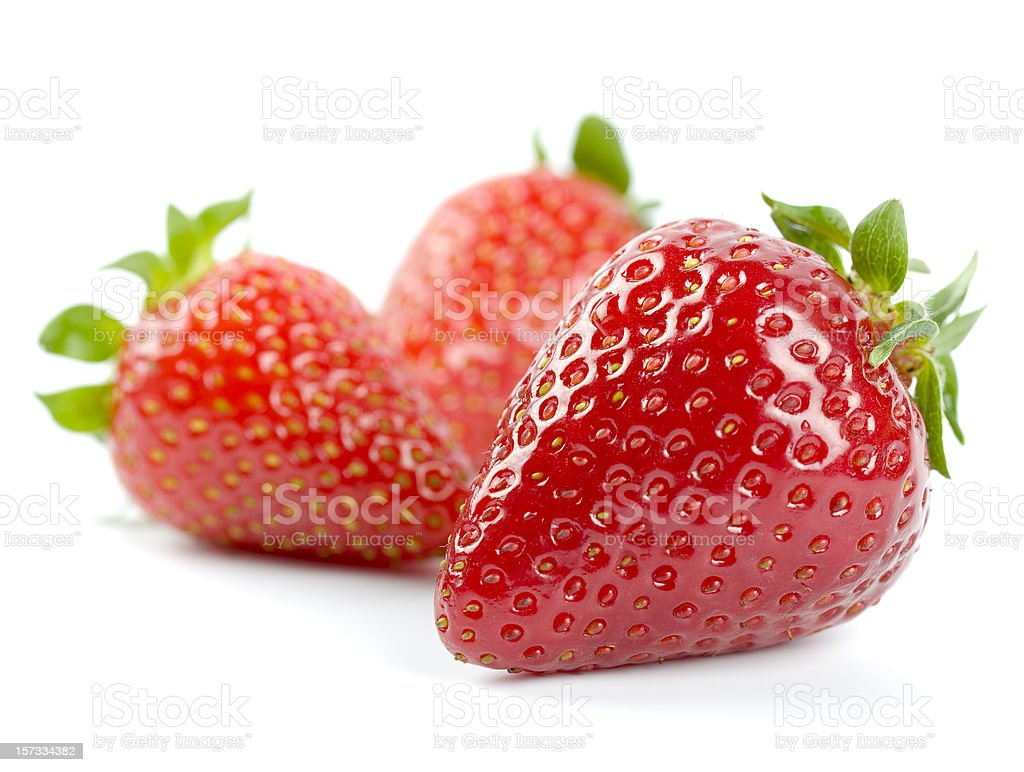 Fresh strawberries, isolated on white background royalty-free stock photo