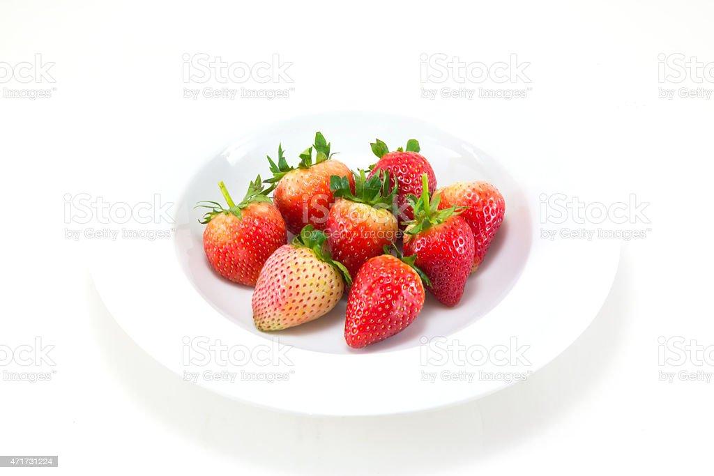 Fresh Strawberries isolated over white background royalty-free stock photo
