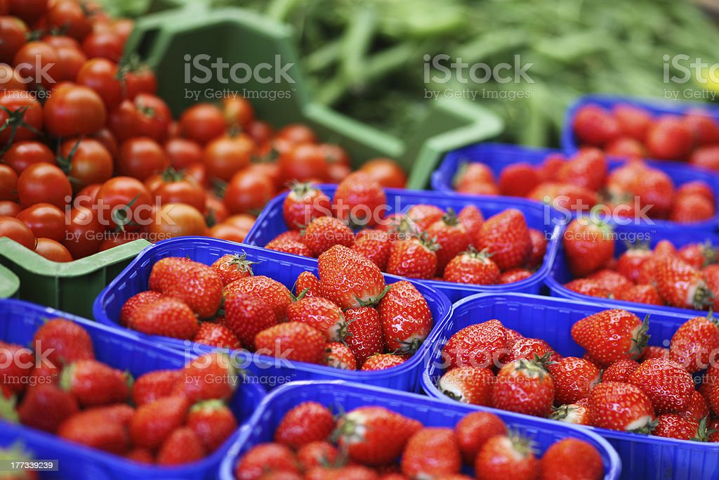 Fresh strawberries on the market. stock photo