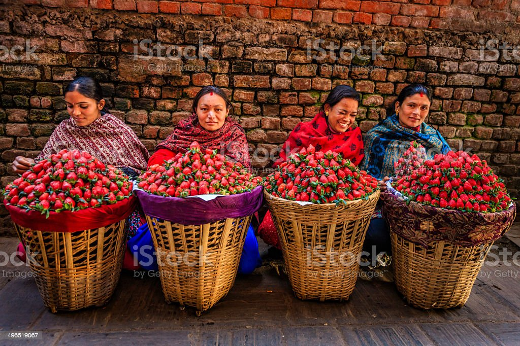 Fresh strawberries! Street market in Kathmandu, Nepal stock photo