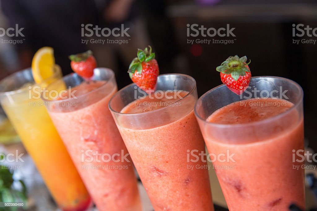 Fresh strawberry and orange juice - healthy drink stock photo