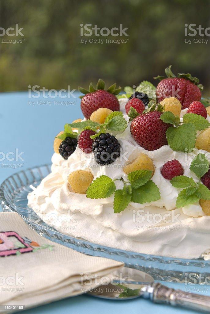 Fresh Strawberry, Berry & Cream Pavlova Meringue, Summer Picnic Brunch Cake royalty-free stock photo