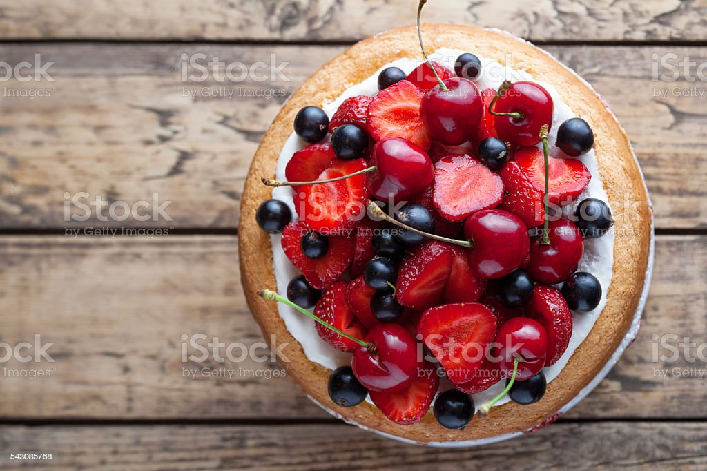 Fresh strawberry cake homemade traditional gourmet sweet dessert bakery food stock photo