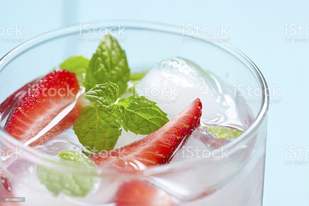 Fresh strawberry drink on wood background royalty-free stock photo