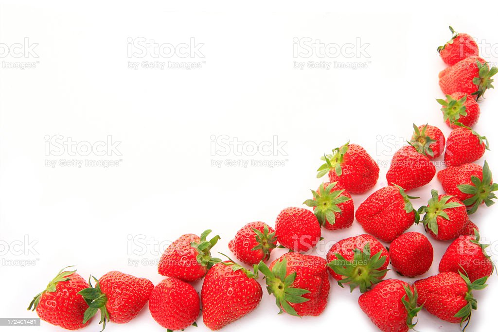fresh strawberry frame on clear white background royalty-free stock photo